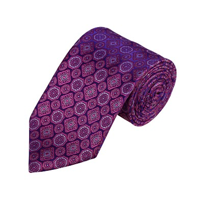 N-23 | Fuschia, Grey and Purple Geometric Woven Necktie