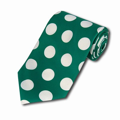 PDB-38 | Kelly Green and White Big Polkadot Tie