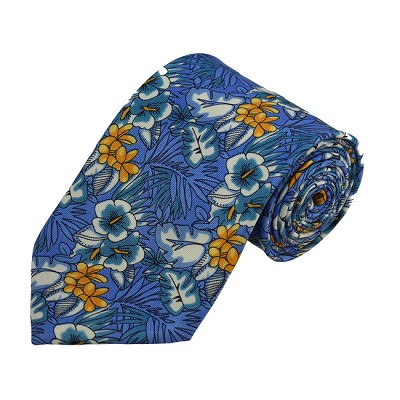 PD-01 | Floral Pattern On Blue Men's Printed Design Necktie