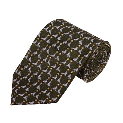 PD-03 | Grey Seal W. Ball Pattern On Olive Men's Printed Design Necktie
