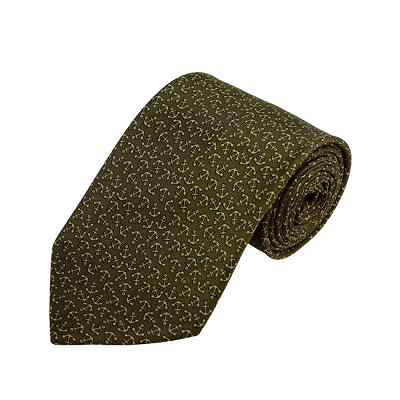PD-25 | Green Nautical Anchor Pattern On Olive Men's Printed Design Necktie
