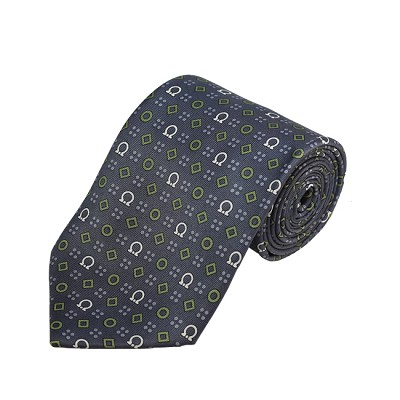 PD-38 | Olive/Grey/Cream Geometrical Pattern On Grey Men's Printed Design Necktie