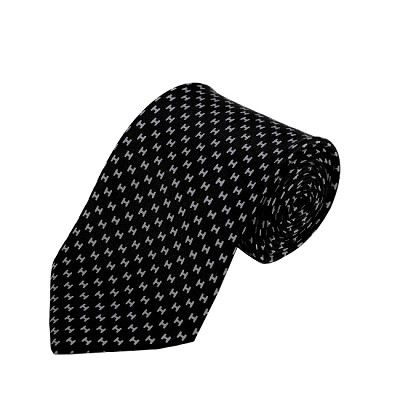 PD-46 | Grey H Pattern On Black Men's Printed Design Necktie