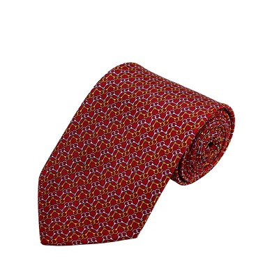 PD-56 | Gold/Grey Chain Link Pattern On Red Men's Printed Design Necktie