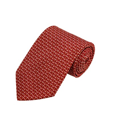 PD-59 | Peach W. Copper/White Anchor Pattern On Red Men's Printed Design Necktie