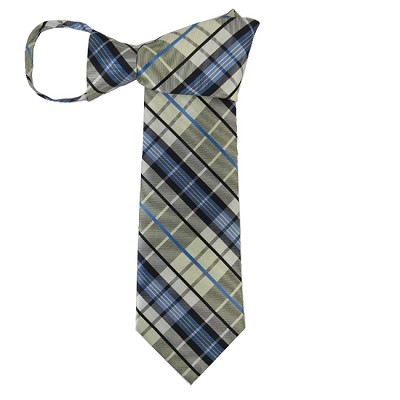 WZ-140 | Light Yellow, Steel Blue and Black Plaid Woven Zipper Tie