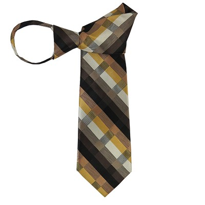 WZ-170 | Honey Gold, Black, Brown and Platinum Multi-Color Stripe Woven Zipper Tie