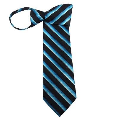 WZ-178 | Two Toned Blue and Black Twill Striped Woven Zipper Tie