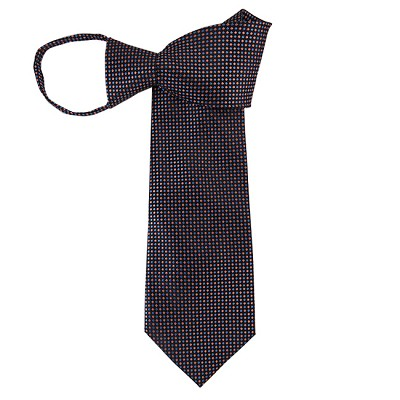 WZ-179 | Coral and Steel Blue Geometric Pixel Woven Zipper Tie