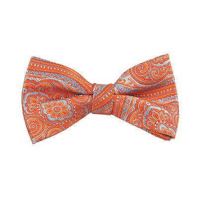 DB-05 | Pre-Tied Tangerine and Sky Blue Woven Paisley Bow Tie
