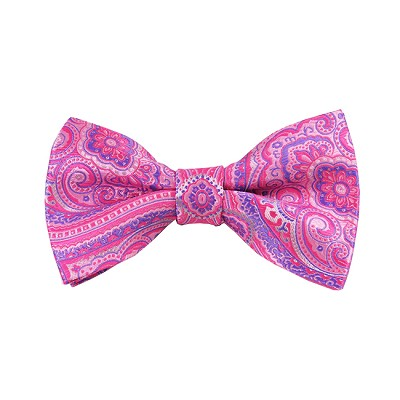 DB-07 | Pre-Tied Pink, Fuchsia and Purple Woven Paisley Bow Tie