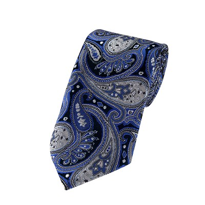 DL-16 | Royal Blue, Silver and Black Floral Paisley X-Long Woven Necktie