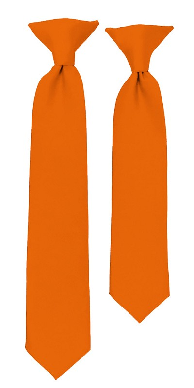 C-03 | Boys' Solid Orange Clip On Tie