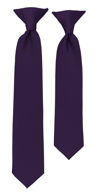 C-103 | Boys' Solid Eggplant Clip On Tie