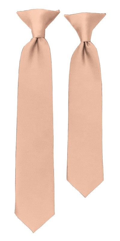 C-16 | Boys' Solid Light Salmon Clip On Tie
