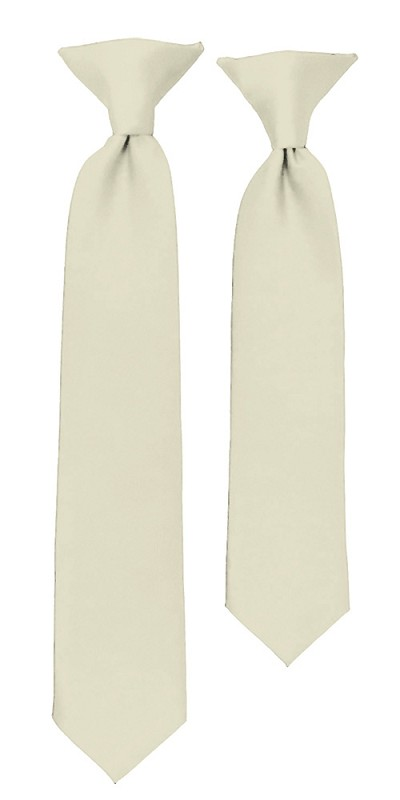 C-21 | Boys' Solid Cream Clip On Tie