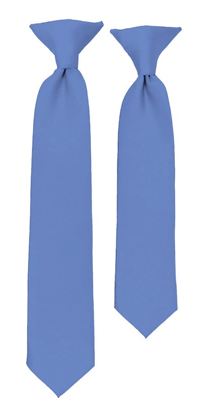 C-30 |Boys' Solid Steel Blue Clip On Tie