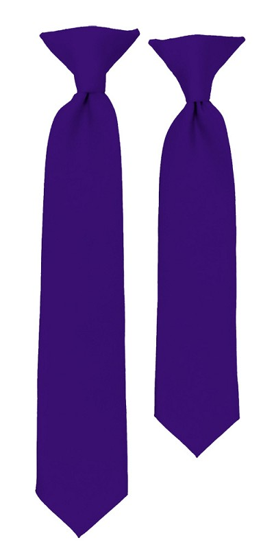 C-31 | Boys' Solid Deep Purple Clip On Tie
