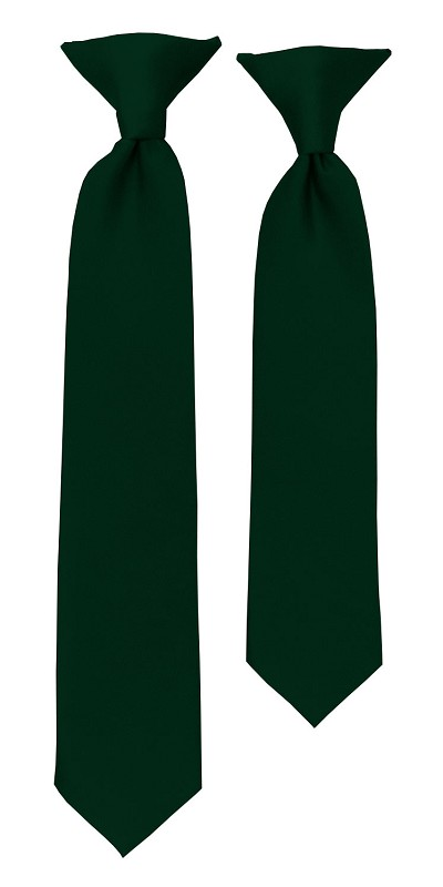 C-37 | Boys' Solid Forest Green Clip On Tie