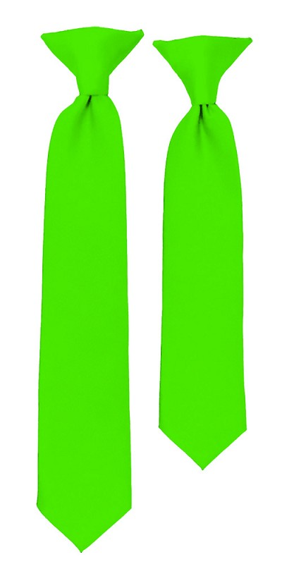 C-39 | Boys' Solid Hot Lime Clip On Tie