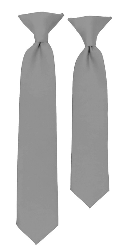 C-50 | Boys' Solid Silver Clip On Tie
