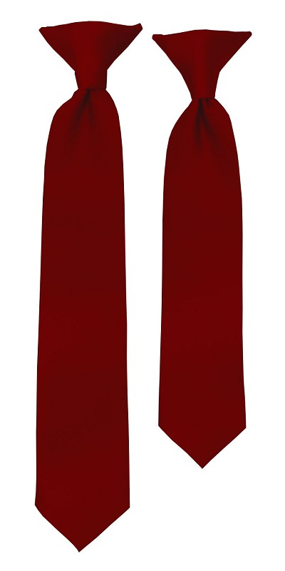 C-62 | Boys' Solid Burgundy Clip On Tie