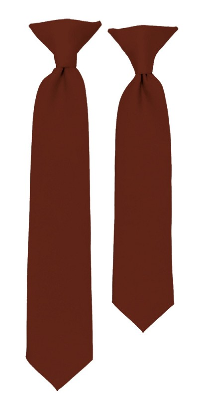 C-68 |Boys' Solid Cinnamon Clip On Tie