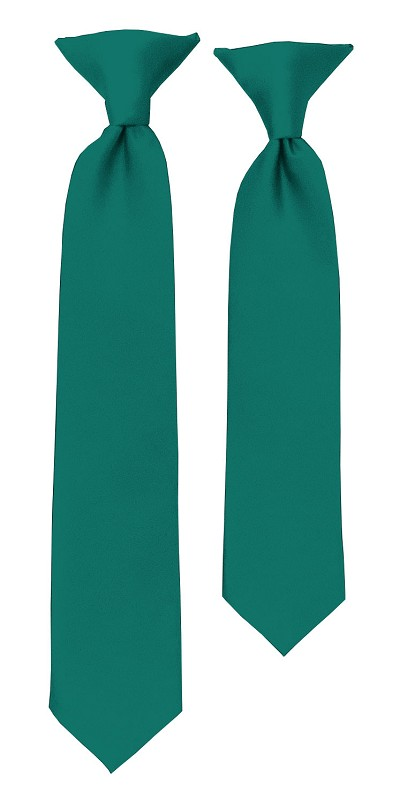 C-84 | Boys' Solid Teal Green Clip On Tie