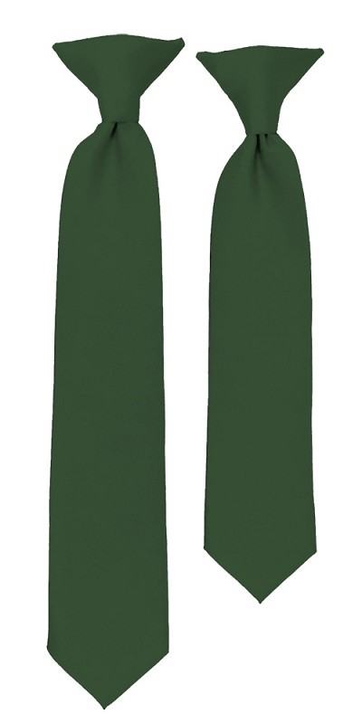 C-96 | Boys' Solid Hunter Green Clip On Tie
