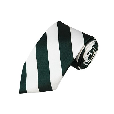 DS-3720 | Forest Green and White College Stripe Woven Tie