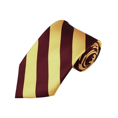 DS-6275 | Burgundy and Honey Gold College Stripe Woven Tie