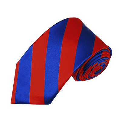DSS-3601 | Slim Royal Blue and Red College Stripe Woven Tie
