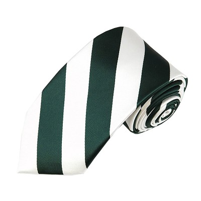 DSS-3720 | Slim Forest Green and White College Stripe Woven Tie