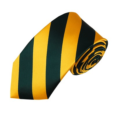 DSS-3748 | Slim Forest Green and Gold College Stripe Woven Tie