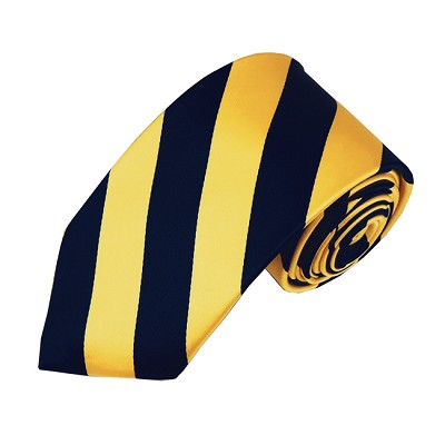 DSS-5348 | Slim Navy and Gold College Stripe Woven Tie