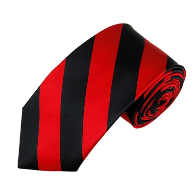 DSS-5801 | Slim Black and Red College Stripe Woven Tie