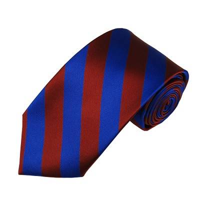 DSS-6236 | Slim Burgundy and Royal Blue College Stripe Woven Tie