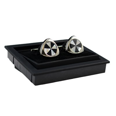 CK-06 | Premium Black and White Pinwheel Triangular Silver Cuff Links