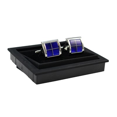 CK-08 | Premium Luxurious Blue Windowed Silver Cuff Links