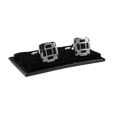 CL-01 | Men's Silver and Black Square Cufflinks