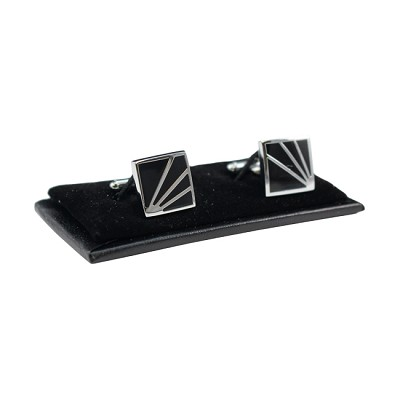 CL-17 | Men's Silver and Black Square Cufflinks