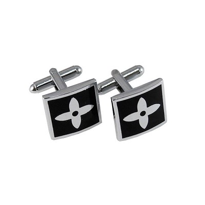 CL-05 | Men's Silver and Black Square Cufflinks