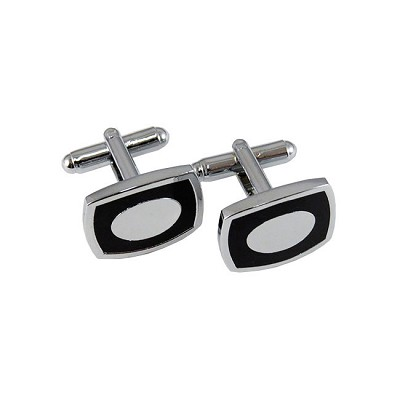 CL-09 | Men's Silver and Black Rectangular Cufflinks