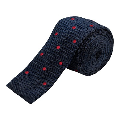KTD-02 | Navy Blue, Red Dotted Men's Knit Tie