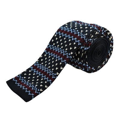 KTD-07 | Navy Blue, Burgundy Striped w/ Designs Men's Knit Tie