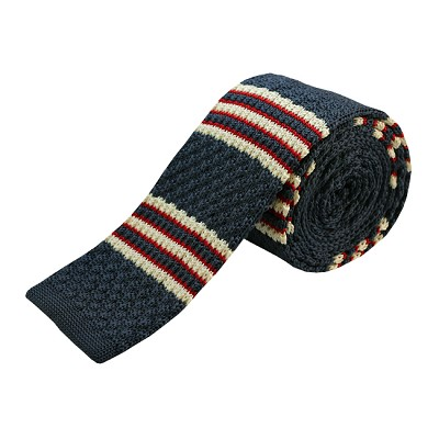 KTD-11 | Gray, Cream and Red Striped Men's Knit Tie