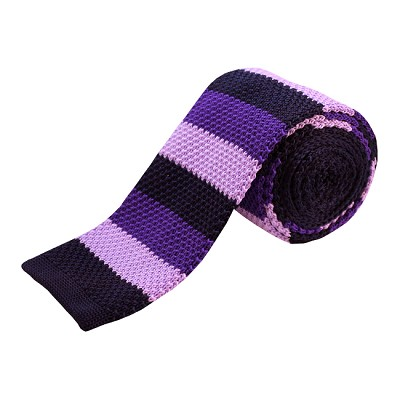 KTD-13 | Purple, Lavender, Navy Blue Striped Men's Knit Tie