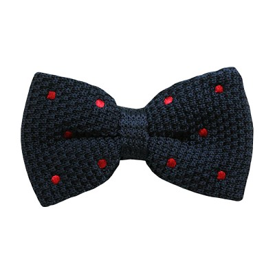 BKBD-02 | Men's Navy Blue, Red Dotted Pre-Tied Knit Bow Tie