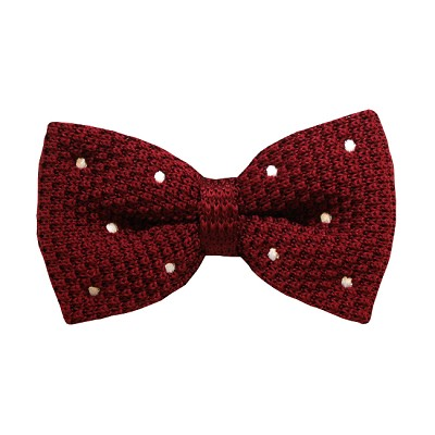 BKBD-03 | Men's Burgundy, White Dotted Pre-Tied Knit Bow Tie