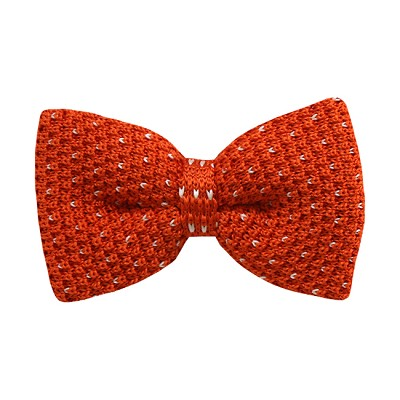 KBD-04 | Men's Orange, Small Heart Dotted Pre-Tied Knit Bow Tie